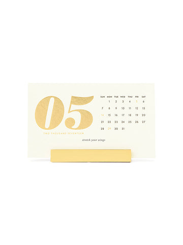 12-month desktop calendar, cream