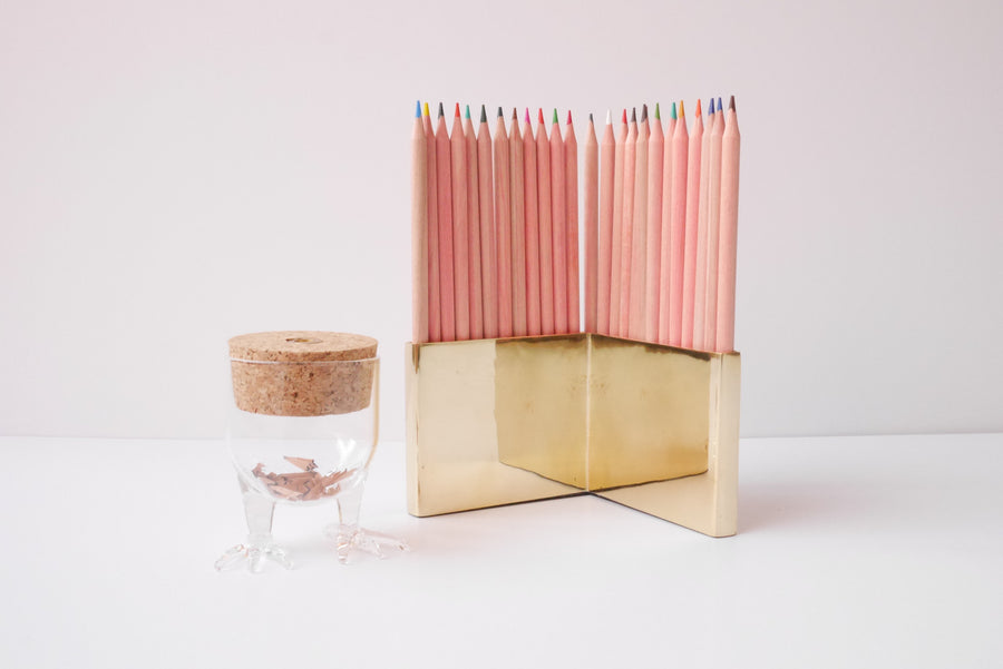 Brass colored pencil holder
