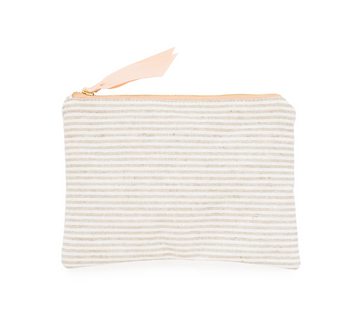 Fabric Pouch, flax stripe linen
