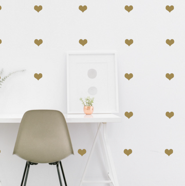 Little Hearts Wall Decal Gold