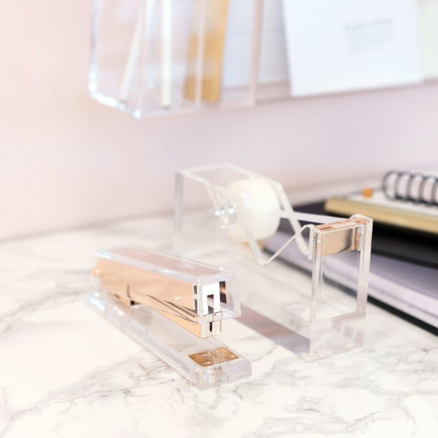 Acrylic and gold tape dispenser