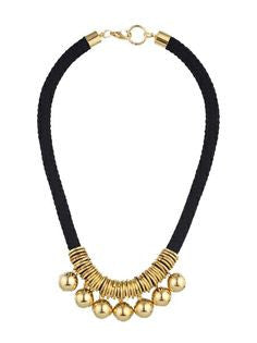 Black Gold Balls & Loops Necklace