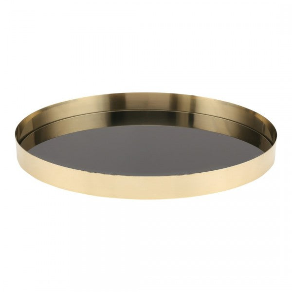Brass and black lacquer tray