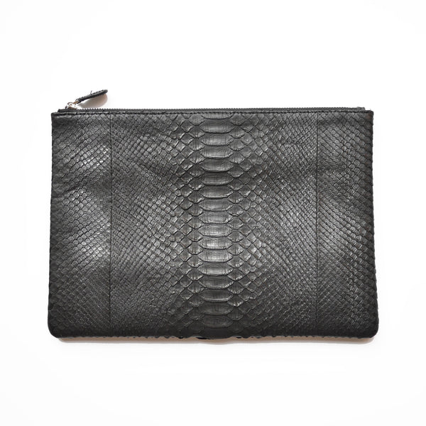 Initialed. Exaggerated Python Black Clutch