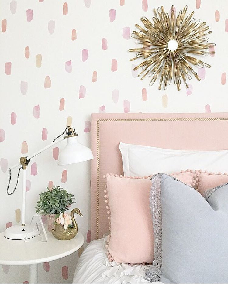 Paint strokes wall stickers in pink