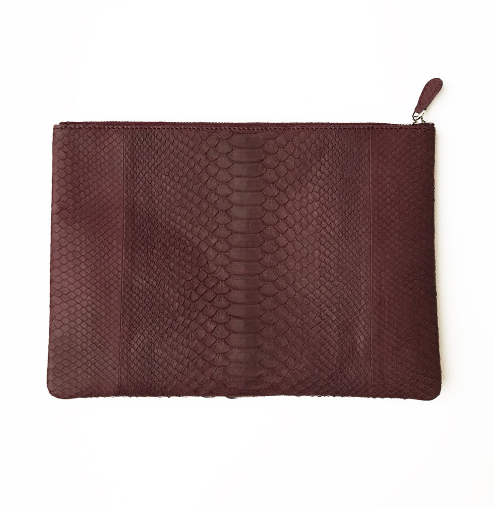Initialed. Exaggerated Python Maroon Clutch