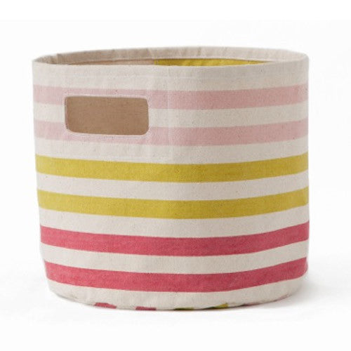 Pink Striped Bin/Hamper
