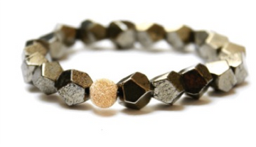 Silver Nugget Pyrite Stackable Bracelet