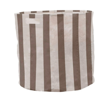 Taupe striped hamper