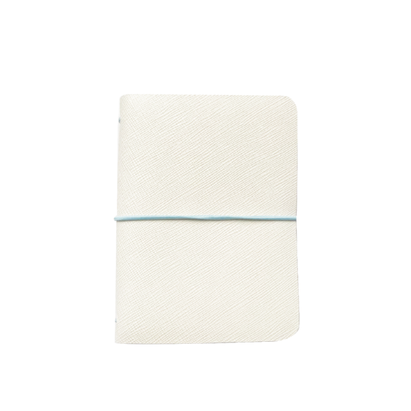 Initialed. White Saffiano Leather Notebook
