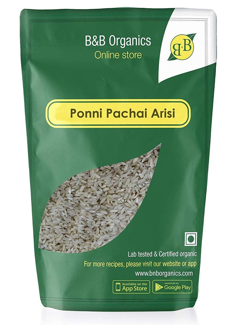 B&B Organics Ponni Raw Rice(Pachai Arisi), 500gms