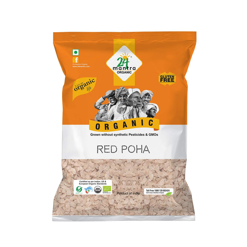 24 Mantra Organic RED POHA (FLATTENED RICE), 500gms