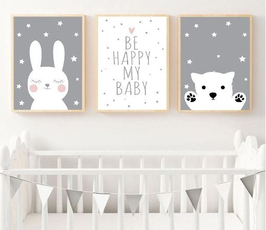 Rabbit and Bear Canvas Prints for Baby's Room – Be Happy My Baby Wall Art