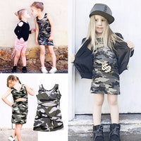 Camo Stretch Dress with Crisscross Back Detail for Toddlers and Girls
