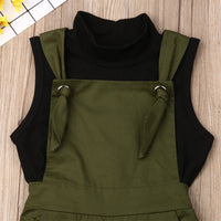 Army Green Overalls with Sleeveless Black Mock Turtleneck for Girls
