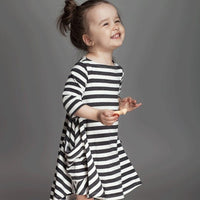 Three Quarter Sleeve Striped Swing Dress with Pockets