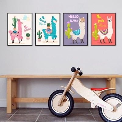 Llama or Alpaca with Cactus Unframed Nursery Decor Posters