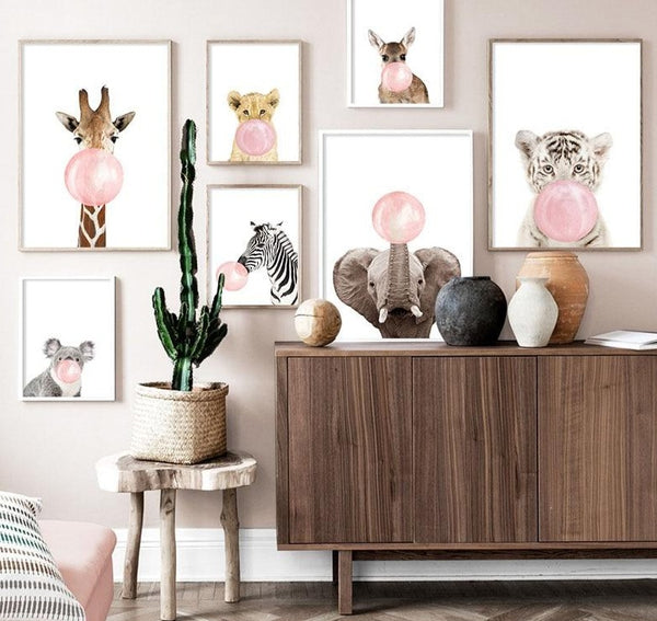 Animals Blowing Bubbles Whimsical Wall Art