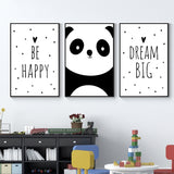 Be Happy Panda Prints Perfect for the Nursery or Kid's Room