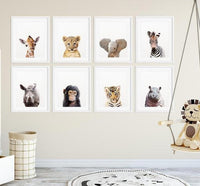Minimalist Safari Baby Animals Photo Prints