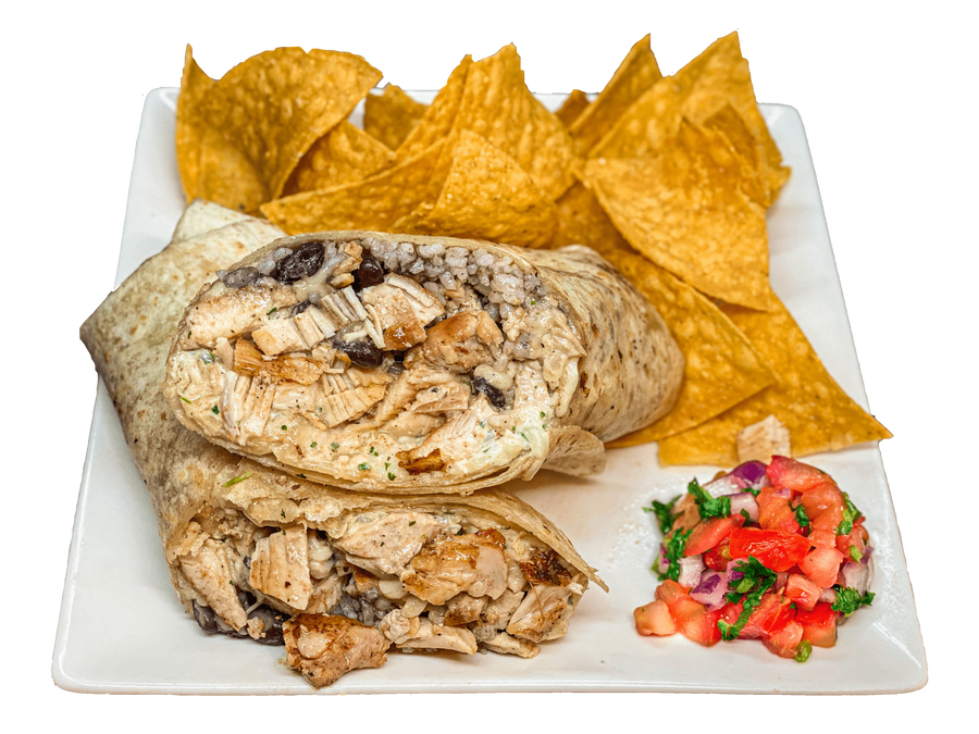 Chipotle Chicken Burrito & Chips - The Rolling Dish