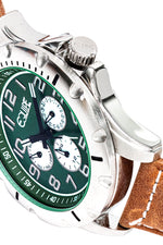 Equipe Turbo Genuine Leather-Band Watch - Camel/Green