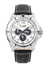 Equipe Turbo Genuine Leather-Band Watch -Black/White