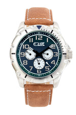 Equipe Turbo Genuine Leather-Band Watch - Camel/Blue