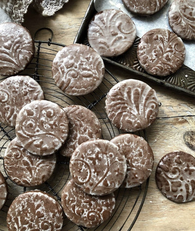 Speculaas Soft Gingerbread Cookies with a Rum Butter Glaze