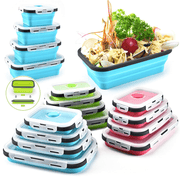 2020 New Folded Telescopic Food Storage Container With Silicone Lid (Set of 4 Pcs) - My Kitchen Cove