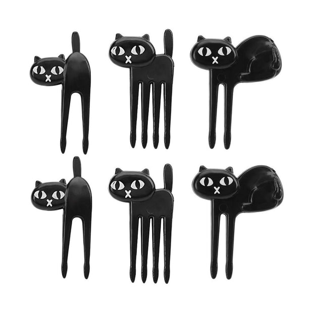 6pcs Black Cat Fruit Fork - My Kitchen Cove