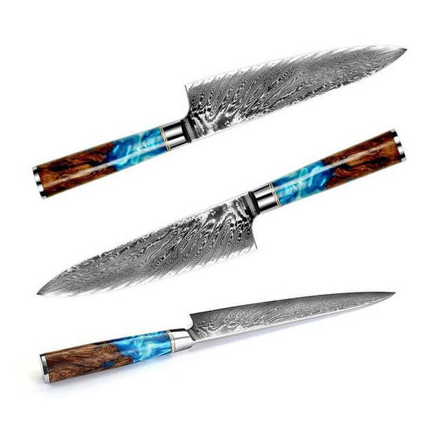 DAMASCUS STEEL KITCHEN KNIFE WITH WOODEN RESIN HANDLE - My Kitchen Cove