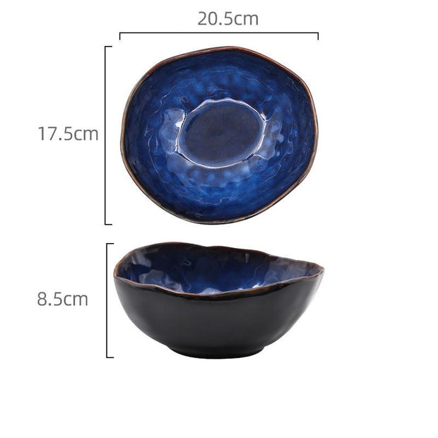 European style ceramic deep bowl irregular bowl - My Kitchen Cove