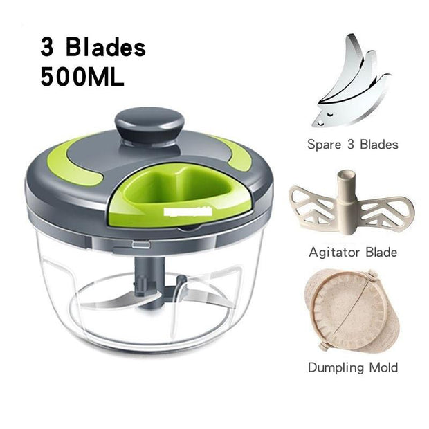 Hand-pulled Meat Grinder Vegetable Chopper (30oz / 17oz) - My Kitchen Cove