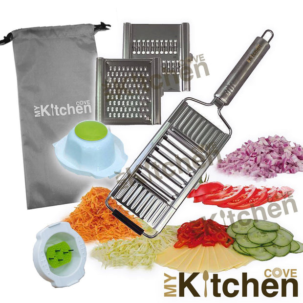 My Kitchen Cove™ Multi-Purpose Vegetable Slicer Cuts (with Safety Holder) - My Kitchen Cove