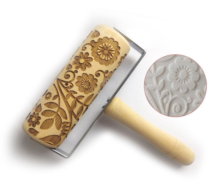 Push-Style Christmas Embossing Rolling Pin Printed Cookie Dough Stick Fondant Tool Baking Noodle Cake Dough Engraved Roller Q40 - My Kitchen Cove