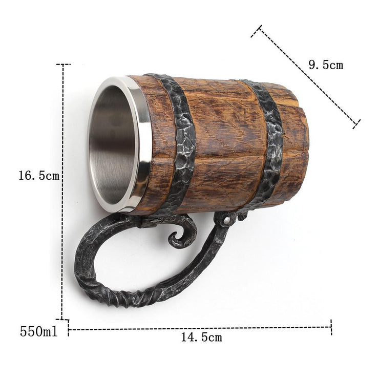 VIKING WOODEN STAINLESS STEEL TANKARD MUG - My Kitchen Cove