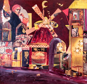 'Moon Over Moulin Rouge' - original mixed media collage