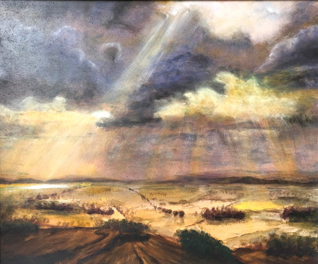 'Crepuscular Rays Over The Landscape' - original oil painting