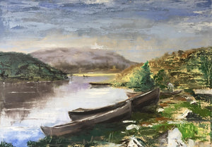 'Landscape With Boats after Konstantin Korovin' - original oil painting