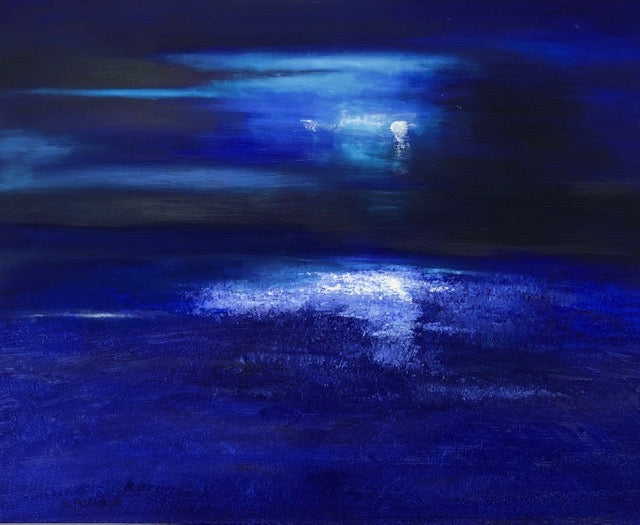 'View from Barnaloft, Moonlight over Porthmeor' - oil on canvas