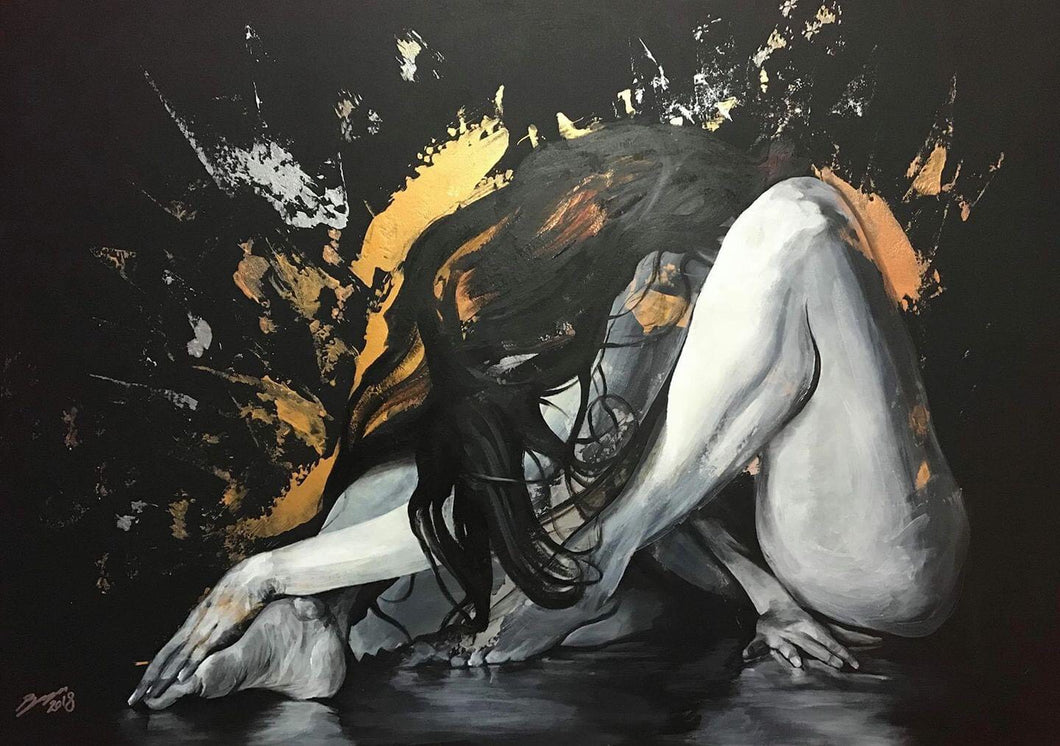 'Mechanical Meltdown' figurative painting in acrylics