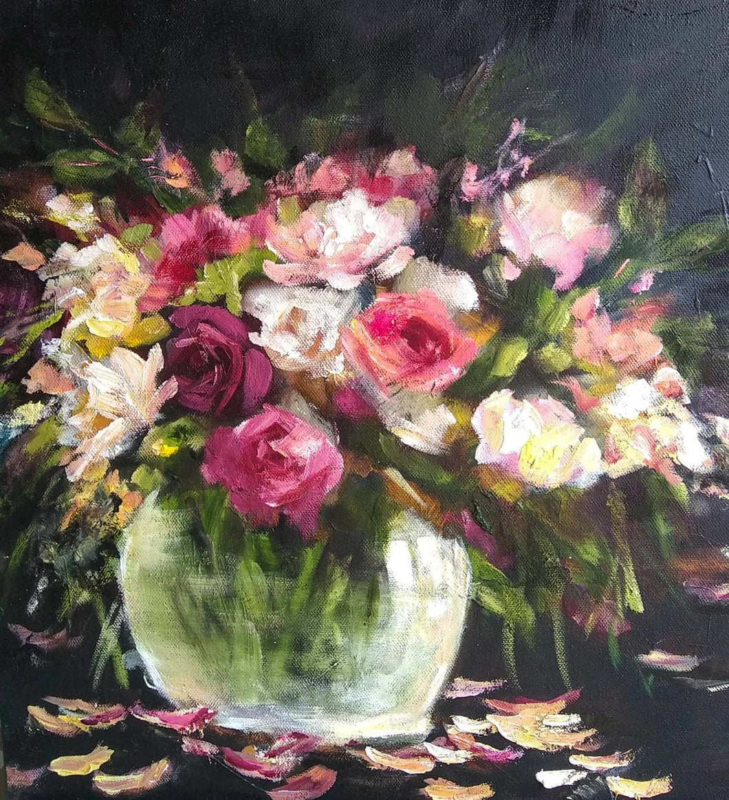 'Roses in Rose Bowl' - original oil painting on canvas