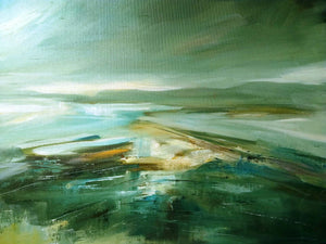 'Storm over the Wirral looking out to North Wales' - original oil painting on board