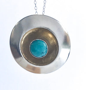 Sterling Silver Round Turquoise Pendant