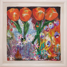 Load image into Gallery viewer, 'Orange Tulips' - original collage with acrylics