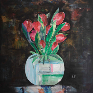 'Tulips in a Bowl' - original collage with acrylics