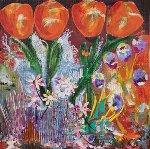 'Orange Tulips' - original collage with acrylics
