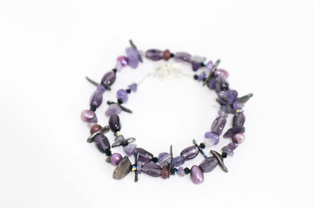 Mixed Gems and Pearls Violet Necklace