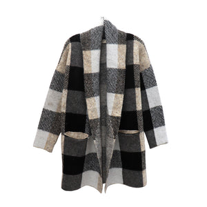 RD knit plaid cardigan
